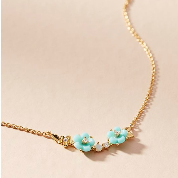 Anthropologie Fredrica Floral Pendant Necklace Y9Z081g